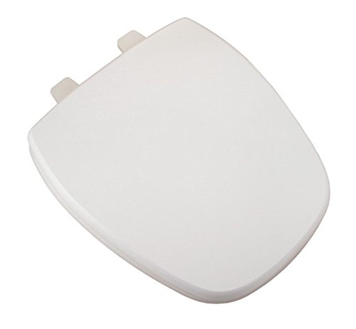 Bath Décor 1F1R9-00 Deluxe Wood Round Square Front Toilet Seat with Adjustable Hinge, White