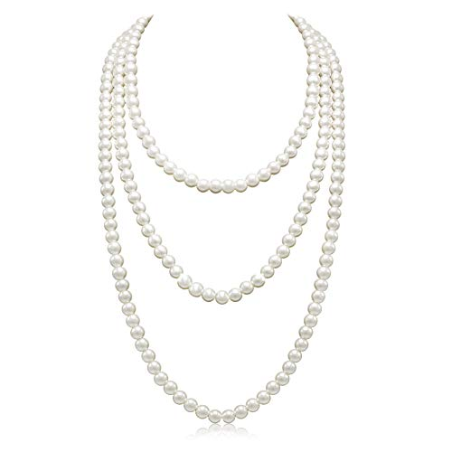 So Pretty Long Pearl Necklace for Women Cream Faux Pearl Strand Layered Necklace 69