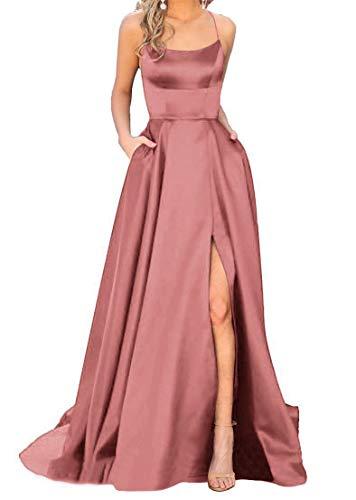 JASY Women's Spaghetti Satin Long Black Prom Dresses with Pockets (8, Dusty Rose) (Rose Dusty Dresses)