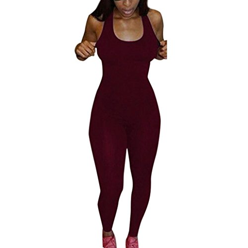 [GBSELL Women Slim Sexy Sport Club Sleeveless Romper Jumpsuit Bodysuit (Red, M)] (Sexy Jumpsuits For Women)