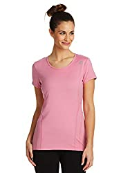 Reebok Women S Dynamic Fitted Performance Short Sleeve T Shirt Dynamic Cashmere Rose X Small