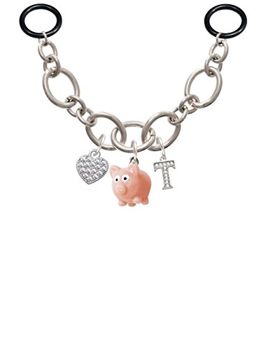 Pink Pig Charm - Resin Pink Pig - T - Initial Charm Necklace for Stethoscope