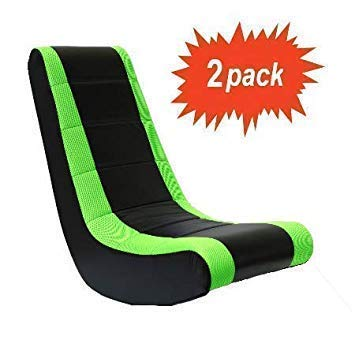 Original Classic Crew Furniture Video Rocker Style in Black/Neon Green - Set of 2