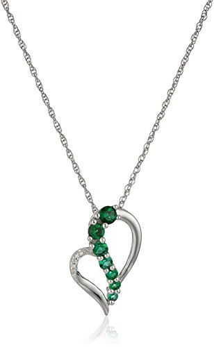 - Sterling Silver Created Emerald and Diamond Accent Heart Journey Pendant Necklace, 18