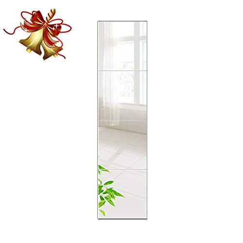 Beauty4U Full Length Tall Mirror Tiles - 14 Inch x 4Pcs Frameless -