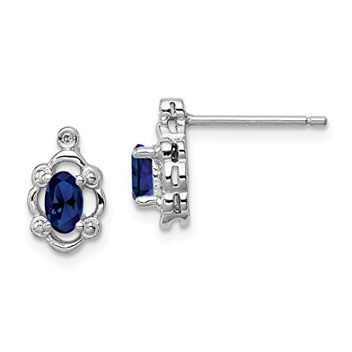- 925 Sterling Silver Created Sapphire Diamond Post Stud Earrings Birthstone September Set Fine Jewelry For Women Gift Set
