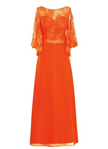 Women' the Orange Mother Rot Spitzen Bride Sleeve Fanciest of Lang Kleides RYxdfFFwq