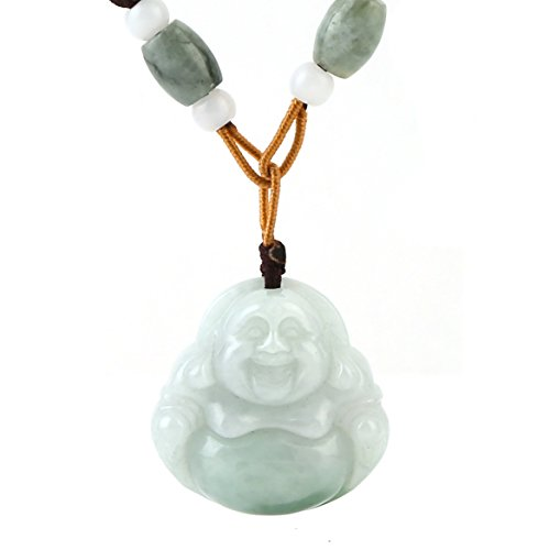 HZMAN Natural Genuine Green Jade Happy Maitreya Buddha Pendant Necklace Lucky Protection Powers Amulet (Happy Maitreya Buddha) Lucky Buddha Pendant
