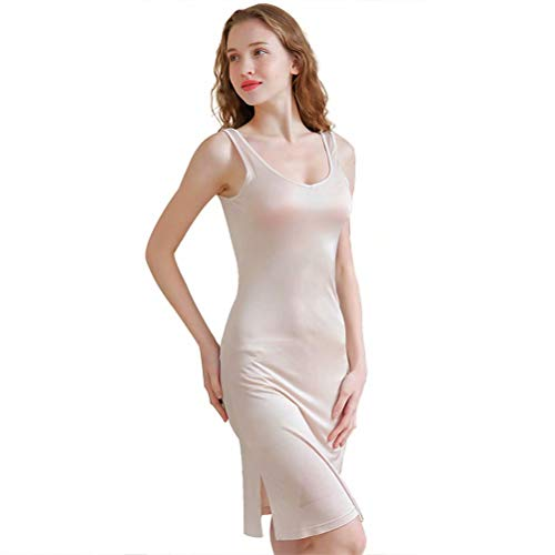 Zylioo 100% Mulberry Silk Cap Sleeve Full Slips Dresses Layering Tee Comfy Sexy Slim Fit Camisole Under Dress Underwear, Nude, (US XL)