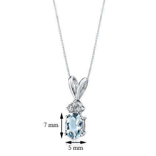 Pendentif Ovale Aigue-marine et Diamant 0,75Carat or blanc 14carats