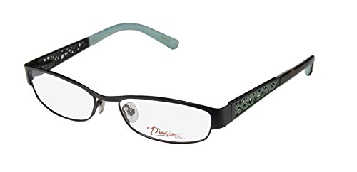 Thalia Cipriana Womens/Ladies Designer Full-rim Flexible Hinges Eyeglasses/Eyewear (51-16-135, Black / Olive / - Metal Full Rim Eyeglasses