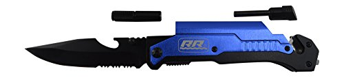 NEW Rogue River Tactical Knives Best Blue 6-in-1 Multitool Survival Pocket Knife with Magnesium Fire Starter, LED Flashlight Bottle Opener Seat Belt Cutter and Windows Breaker