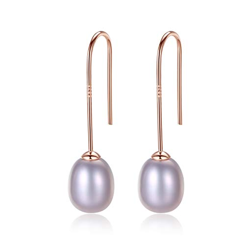 Bigbabybig Natural Shell Pearl Dangle Earrings for Women Girl 925 Sterling Silver Rose Gold ()