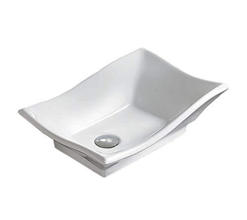 - Bathroom White Ceramic Porcelain Vessel Vanity Sink 7459 + *FREE Pop Up Drain*