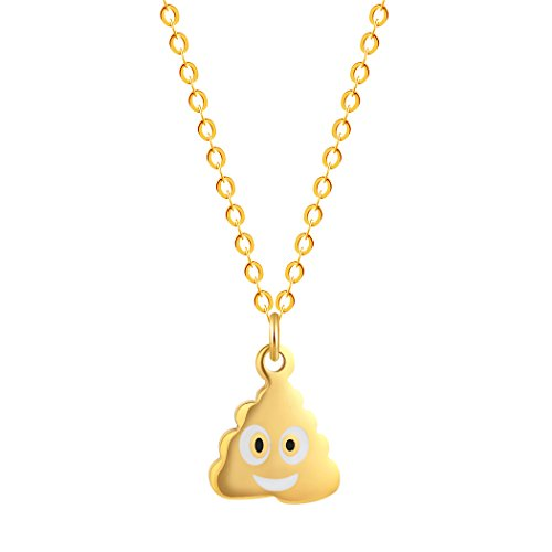 Poo Poop Emoji Necklace Gold Lin...