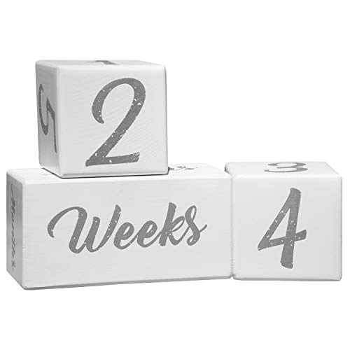BFS Baby Milestone Blocks | Baby Age Photo Blocks | Wood Baby Milestone | Milestone Photo Age Blocks | Unique Neutral Photo Sharing Prop (for Boy or Girl) | Perfect and Keepsake by BFS
