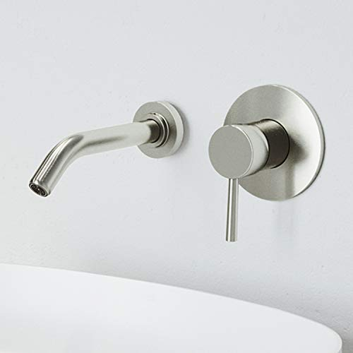 VIGO VG05001BN Olus Wall Mount Brushed Nickel Bathroom Faucet with Unique Plated 7 Layer Finish