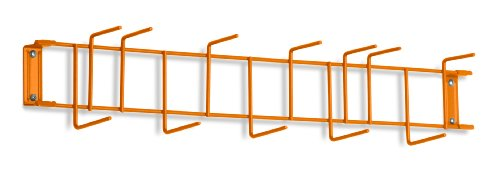 Horizon 4048 26'' Steel Utility Sanitation Brush Rack with 12 Hooks, 26-1/4'' Width x 6-1/2'' Height x 4'' Depth, Orange by Horizon Manufacturing