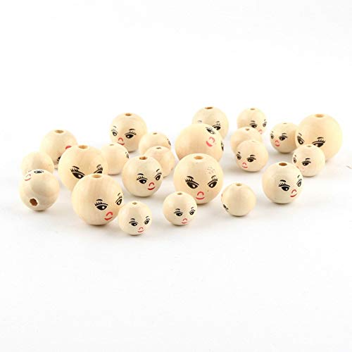 (Pukido Wood Color Wooden Beads 14/18/22mm 20pcs Round Natural Lady Smile face Wood Beads for Jewelry Making DIY Rattle Pacifier Clip - (Item Diameter: 14mm))