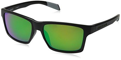 Native Eyewear Flatirons Polarized Sunglasses, Matte Black, Green Reflex - Sunglasses Native Polarized