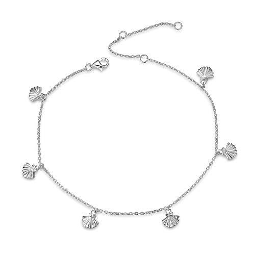 YFN Boho Beach Seashell Ankle Charm Bracelet Sterling Silver Anklet Chain Bracelet Beach Foot Jewelry for Women Little Girls (Seashell Ankle Bracelet)