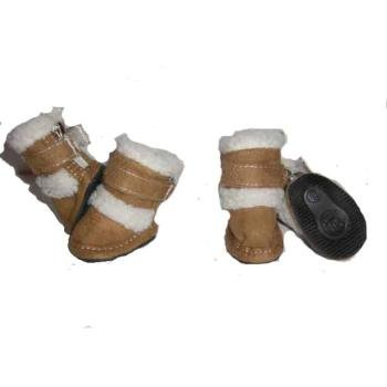 Pet Life Doggz Shearling Dog Boots Small Brown, My Pet Supplies