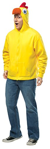 Rasta Imposta Chicken Hoodie, Yellow/Multi, Small/Medium (Chicken Costumes For Adults)