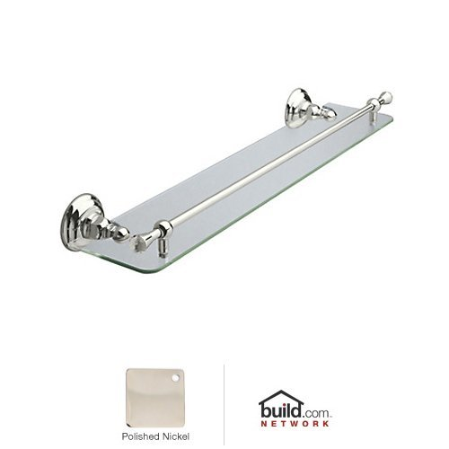 Rohl A1480C Country Bath 24'' Wall Mounted Glass Vanity Shelf with Front Retainin, Polished Nickel
