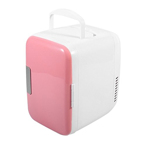 Portable Compact Personal Thermoelectric Refrigerators 4 Liter / 6 Can Electric Cooler and Warmer 100v~240v AC / 12V DC Mini Fridge for Home ,Office, Car or Boat (Pink) ()