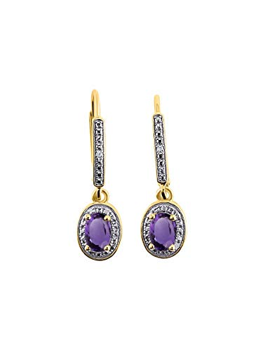 Diamond & Amethyst Earrings in 14K Yellow Gold - February Birthstone Color Stone Halo Designer