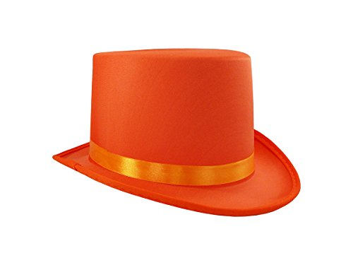 Soft Orange Satin Top Hat Costume Adult, One Size