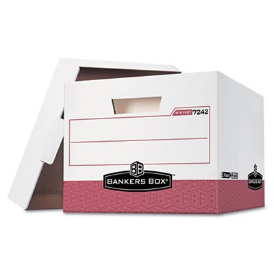 R-Kive Max Box, Letter/Legal, Paper, 12 x 15 x 10, White/Red 12/Ctn