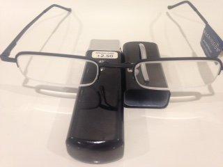 Magnivision Gunmetal Half Rim Compact Reading Glasses with Hard Metal Tubes,Strong/Port +2.50 (Black, Gray,Brown or Blu Color). (Nv Port)