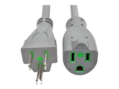 Tripp Lite 6ft Hospital Medical Power Extension Cord 5-15P HG 5-15R HG 120V 13A Gray 6' (P022-006-GY-HG) -
