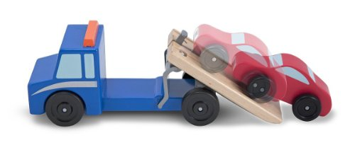 Wooden Flatbed Tow Truck + FREE Melissa & Doug Scratch Art Mini-Pad Bundle [45438]