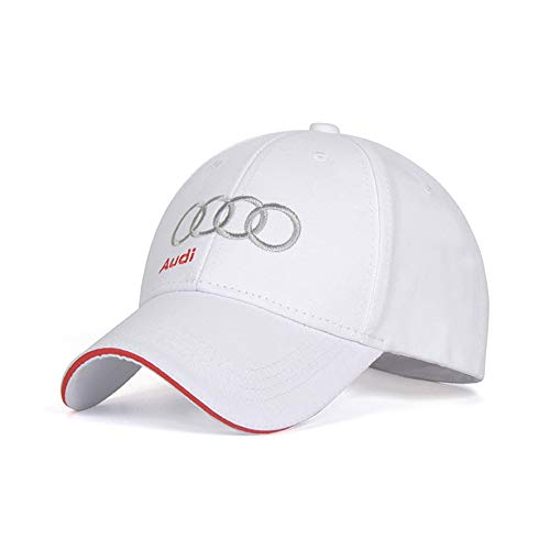 Wall Stickz BearFire Logo Embroidered White Color Adjustable Baseball Caps for Men and Women Hat Travel Cap Racing Motor Hat (fit Audi with Letter)