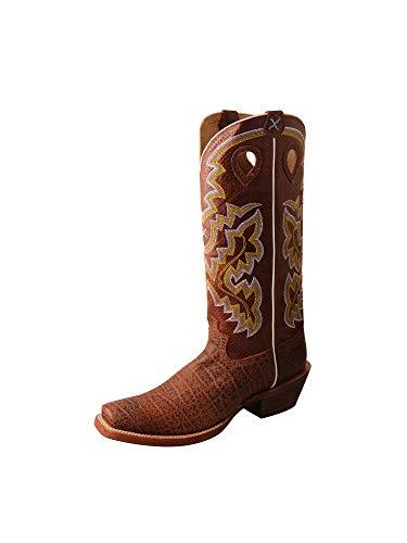 - Twisted X Men's Buckaroo 16-Inch SS Toe Stitched Leather Pull-On Boots - Latigo Cognac