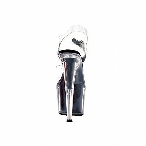 Ellie 709-glitter Dames Sexy Comfortabele 7-puntige Stiletto Sandaal W / Glitter In Platform Blk