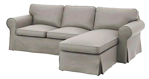 The heavy cotton ektorp loveseat with chaise lounge cover for Chaise lounge covers cotton