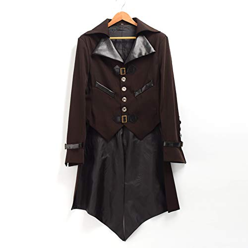 Marrone Gotico Frac Cosplay Vtg Steampunk Costume Blessume Vittoriano Coat Giacca Halloween 6PZqaxxwv