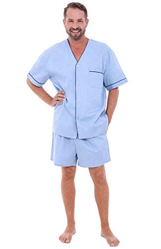 Short Mens Pajamas (Alexander Del Rossa Mens Cotton Pajamas, Short V-Neck Woven Pj Set, Medium Light Blue (A0698LBLMD))