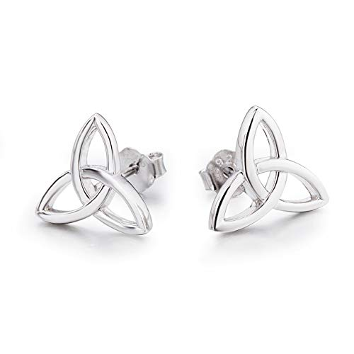 (LUHE Sterling Silver Celtic Earrings Hypoallergenic Triquetra Trinity Knot Stud Earrings for Women Girls, Christmas Gifts for)