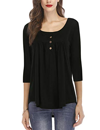 (GOCHIC Women's Casual Shirts Blouse 3/4 Sleeve Pleat Button Tunic Tops Black L)