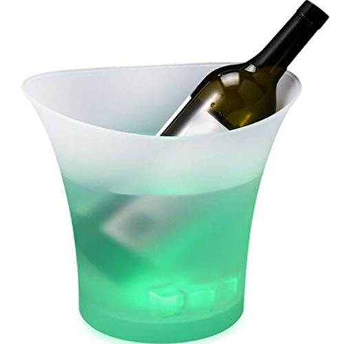 6 Colors LED Light Ice Bucket Champagne Wine Drinks Beer Ice Cooler Bar Party 5L (Yellow, OneSize)