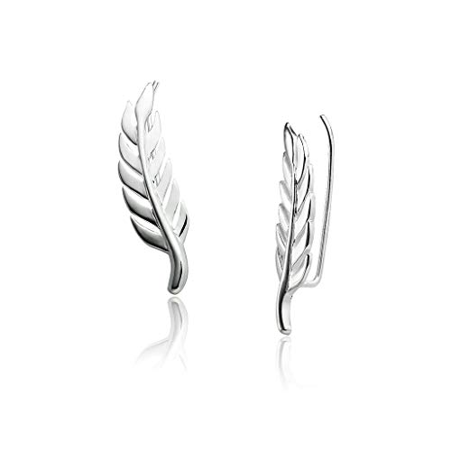 Big Apple Hoops - Genuine Sterling Silver 'Beauty of Nature' Lucky Feather Climber Earrings | Beautiful Polish Finish