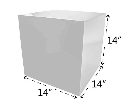 Marketing Holders Acrylic Jewelry Display Box Cube Toys Trinkets Collectible Items Safety Dust Cover Square 5 Sided Show Case Art Easel Pedestal Display 14''w x 14''h x 14''d White Pack of 1 by Marketing Holders (Image #2)