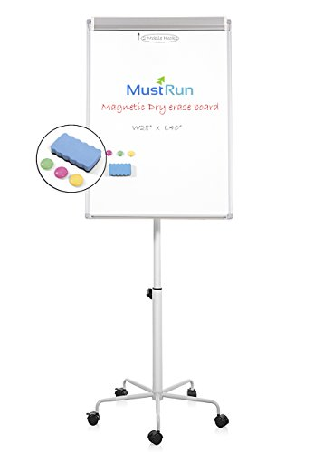 MustRun 28''x40''Mobile Magnetic Whiteboard,Dry erase board,Flipchart Easel,Max Height 78''(1 Erase&3 Magnets) by MustRun