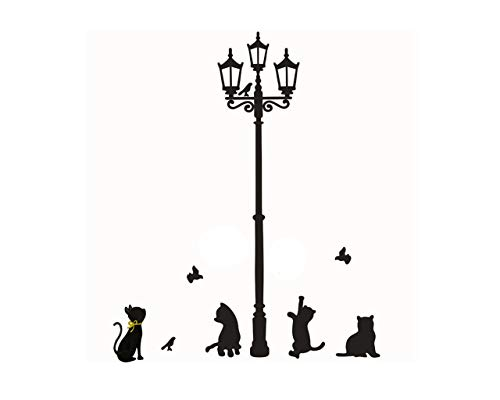 Wall Decor Mural, VANSOON Cats Street Lamp Lights Stickers Wall Decal Removable Art Vinyl Decor Wallpaper for Girls and Boys Nursery Room Children's Bedroom Clearance (Black)