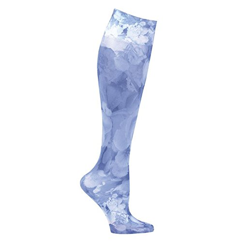 401 Knee Support - Celeste Stein Women's Moderate Compression Knee High Stockings - Blue Flowers