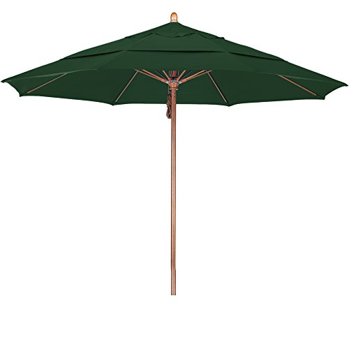 California Umbrella 11′ Round Hardwood Pole Fiberglass Rib Market Umbrella, Stainless Steel Hardware, Pulley Lift, Sunbrella Forest Green Review